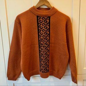 Mock Neck Knit Sweater with Cheetah Print Stripe